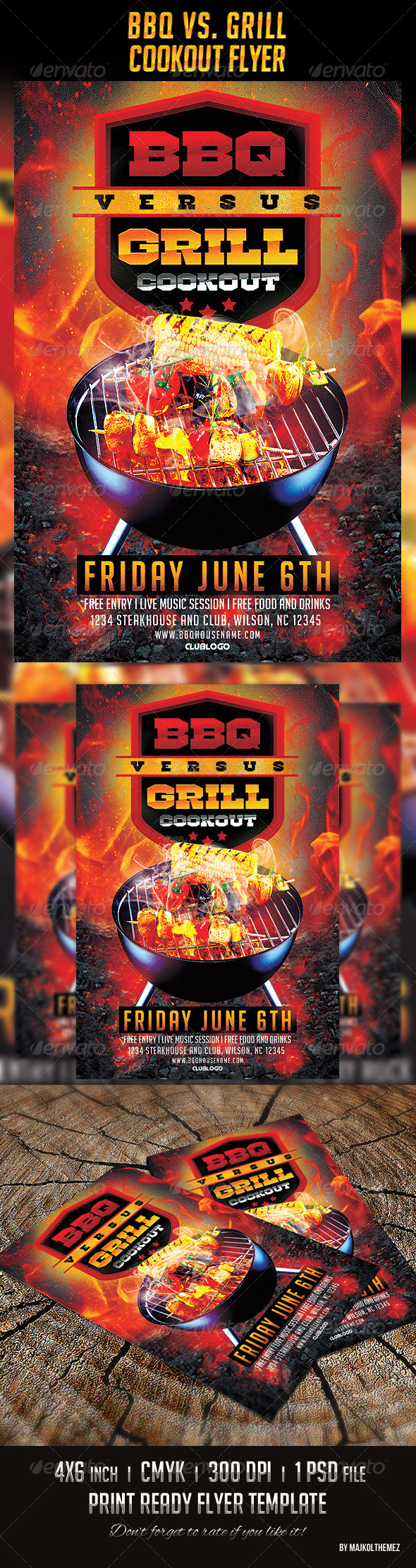 GraphicRiver BBQ vs Grill Cookout Flyer 7797366