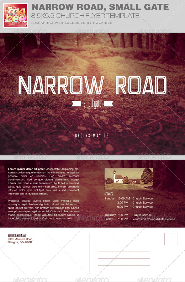 GraphicRiver Narrow Road Small Gate Church Flyer Invite 7797420