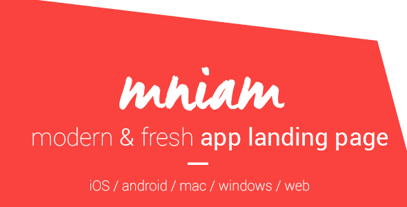 ThemeForest Mniam Modern & Fresh App Landing Page 7755300