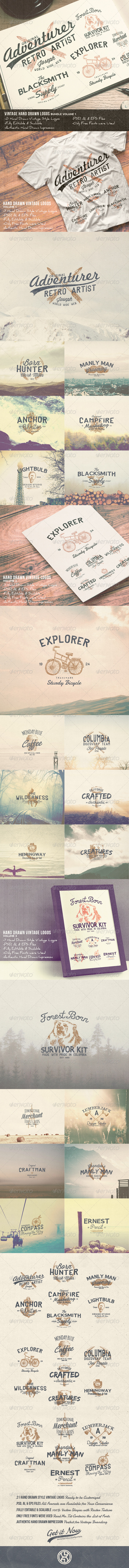 GraphicRiver 21 Hand Drawn Vintage Logos Bundle Volume 1 7781741