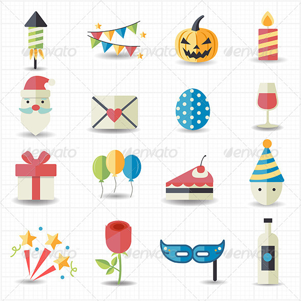 GraphicRiver Celebration and Party Icons 7798320