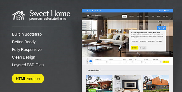 ThemeForest Sweethome Real Estate HTML Template 7725068