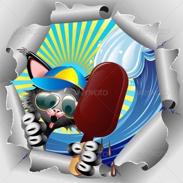 GraphicRiver Cat Cartoon on Summer Holidays 7799260