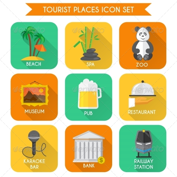 GraphicRiver Tourist Places Icons Set 7799556