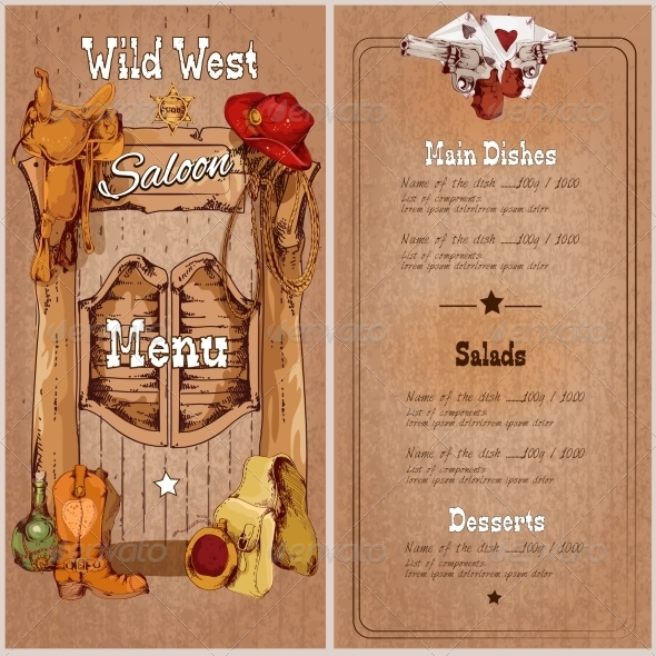 GraphicRiver Wild West Saloon Menu 7799586