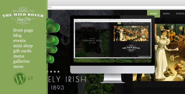 ThemeForest The Wild Rover-WP Theme For Irish Pubs 7799908