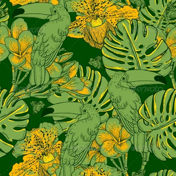 GraphicRiver Seamless Green Pattern with Flowers and Toucan 7800900