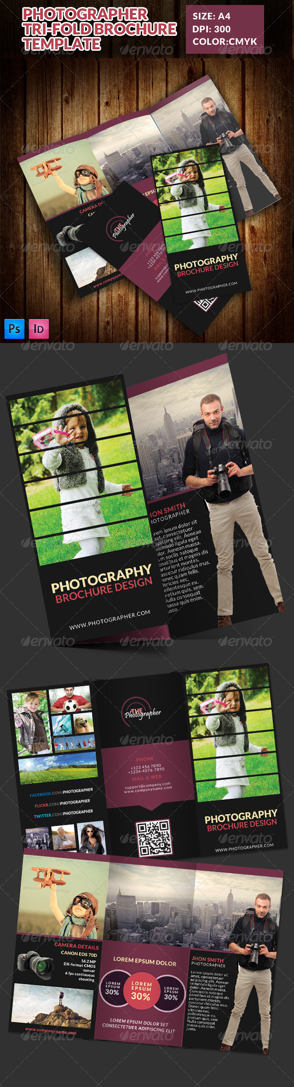 GraphicRiver Photographer Portfolio Tri-Fold Brochure Template 7801043