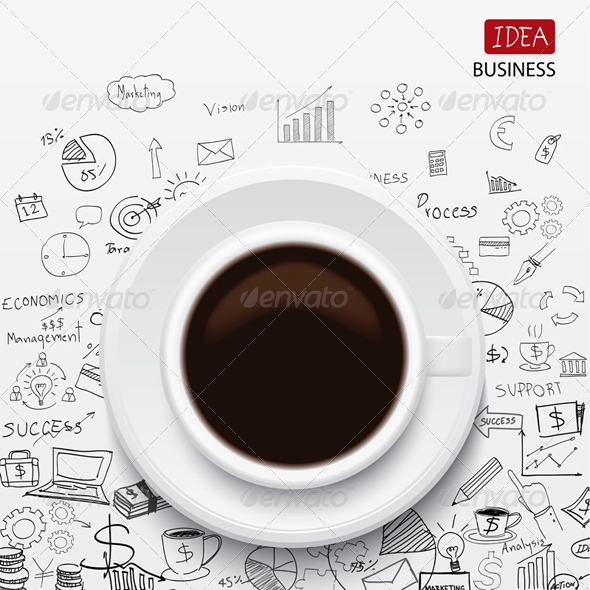 GraphicRiver Coffee Cup and Business Strategy 7801910