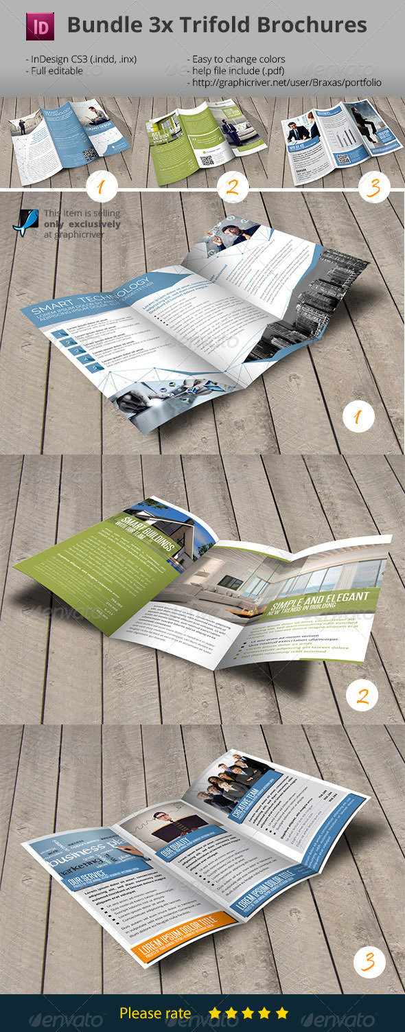 GraphicRiver 3x Trifold Brochure Bundle 7802728
