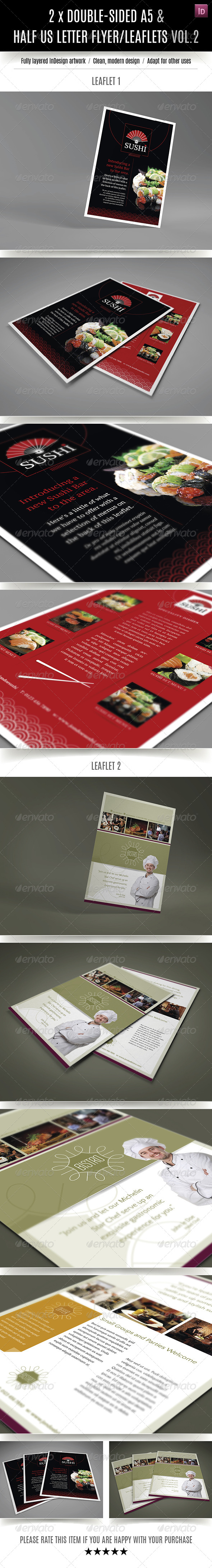 GraphicRiver 2 Double-sided A5 Half Letter Restaurant Flyers 7807044