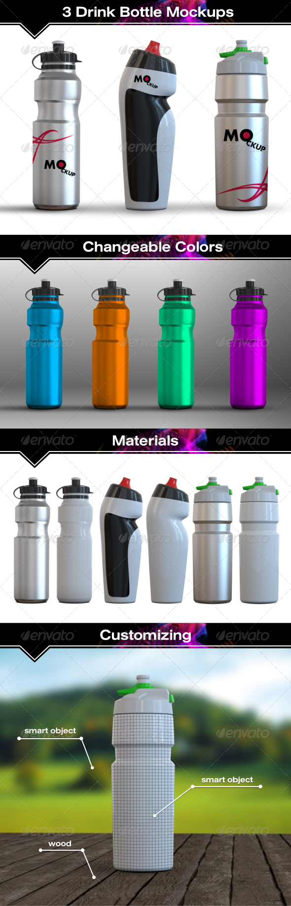 GraphicRiver 3 Drink Water Bottle Mockups 7807062