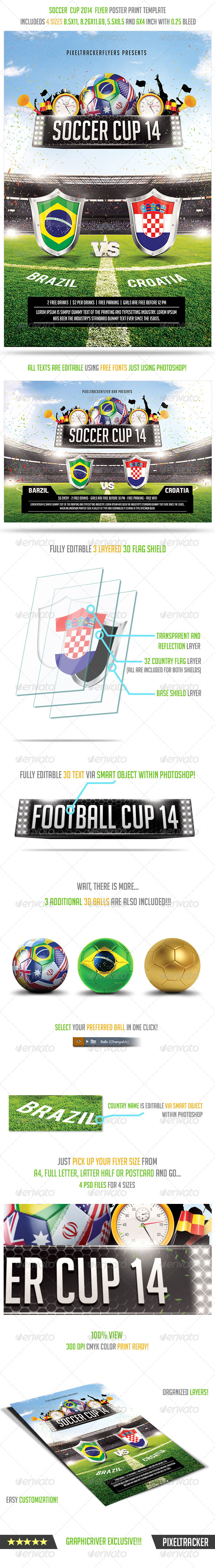 GraphicRiver Brazil Soccer Cup 2014 Football Flyer Poster 7808011