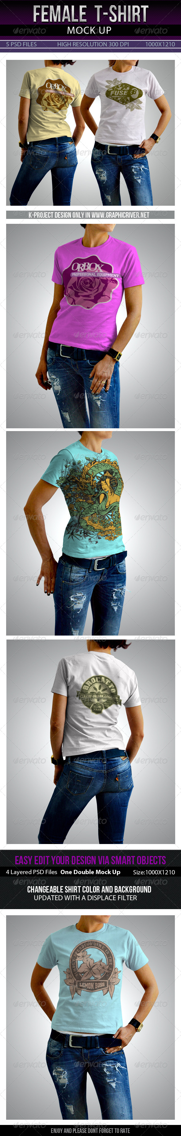 GraphicRiver Female T-Shirt Mock Up 7809700