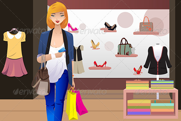 GraphicRiver Shopping Woman in Clothing Store 7809789
