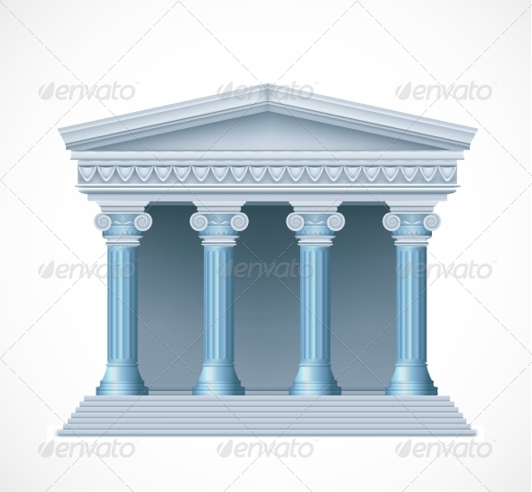 GraphicRiver Front View of an Antique Greek Blue temple 7809947