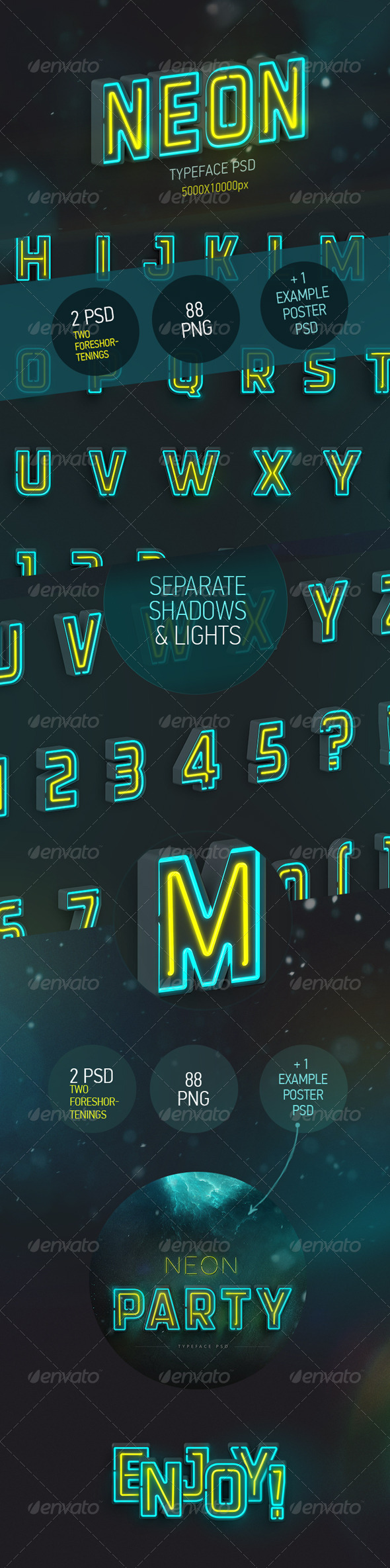 GraphicRiver Neon Typeface 3 PSD 88 PNG 7789963
