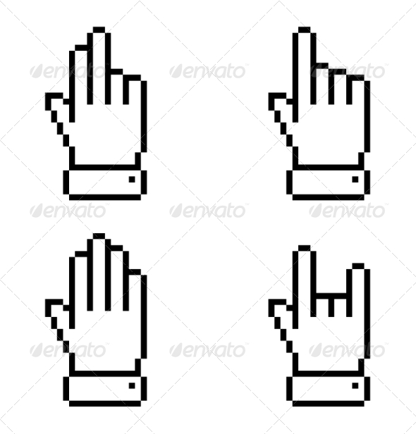 GraphicRiver Set of Black Pixel Hand Icons 7811765