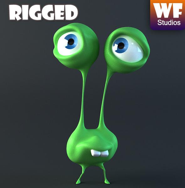3DOcean Cartoon Alien Rigged 7813519