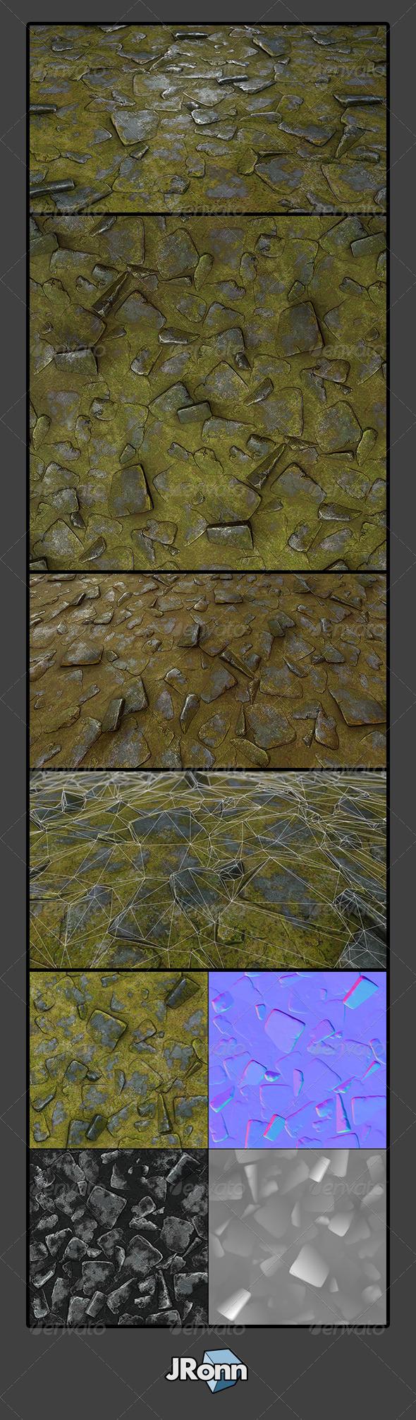 3DOcean Grassy Stone Road Tile 02 7813766