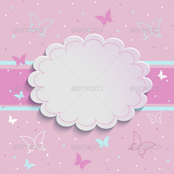 Stock Vector - GraphicRiver Pink Background with Butterflies and Dots 7814071 » Dondrup.com