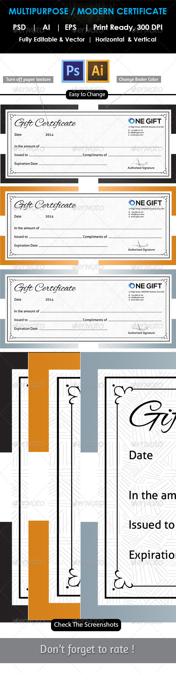 GraphicRiver Simple Gift Certificate GD008 7814191