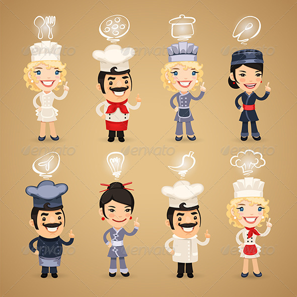 GraphicRiver Chefs with Icons Set 7802735