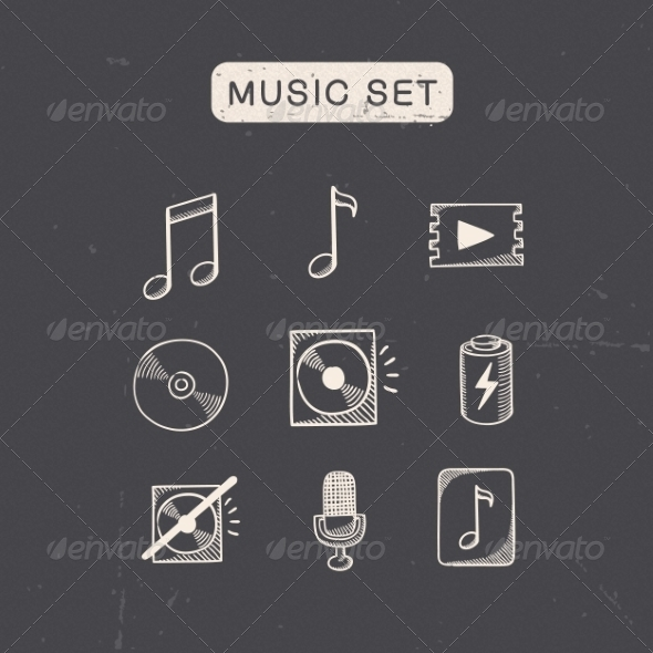 GraphicRiver Music Media Audio Symbols Set 7814250