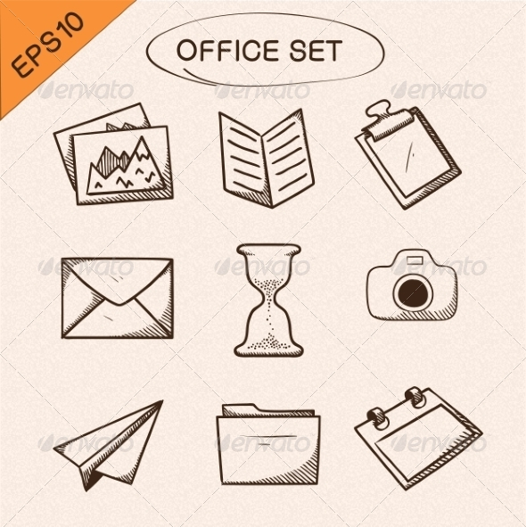 GraphicRiver Office Stationery Symbols Set 7814256