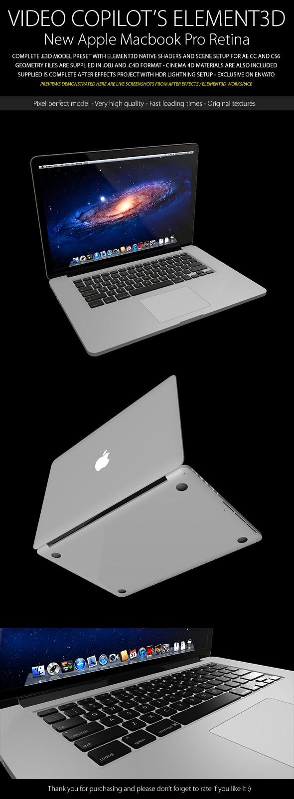 3DOcean Element3D Apple Macbook Pro Retina 7814495