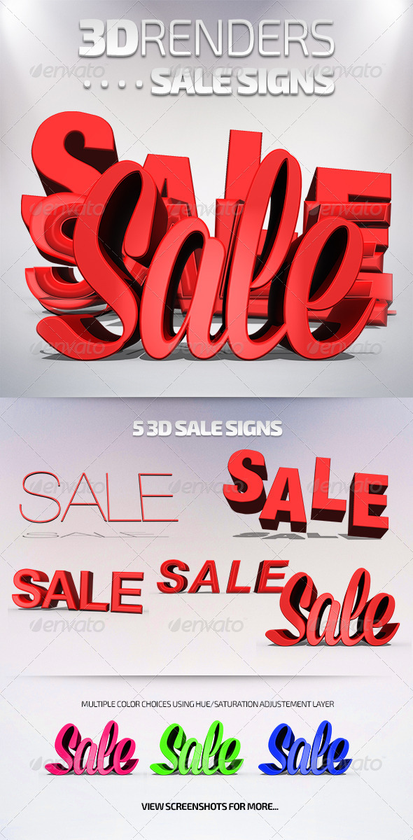 GraphicRiver 3D Renders Sale Signs 7814540