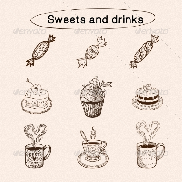GraphicRiver Sweets and Drinks Collection 7814774