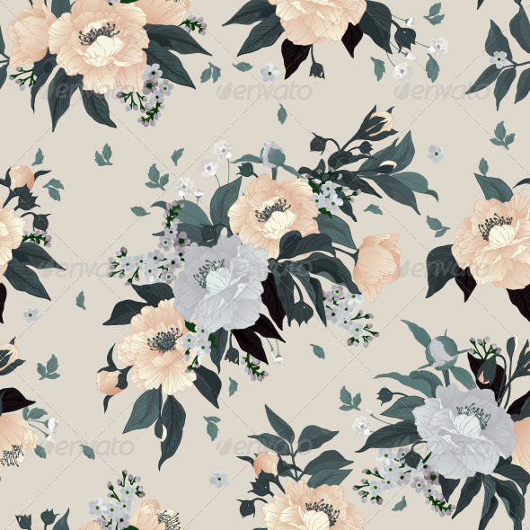 GraphicRiver Seamless Floral Pattern with Roses and Peony 7784833