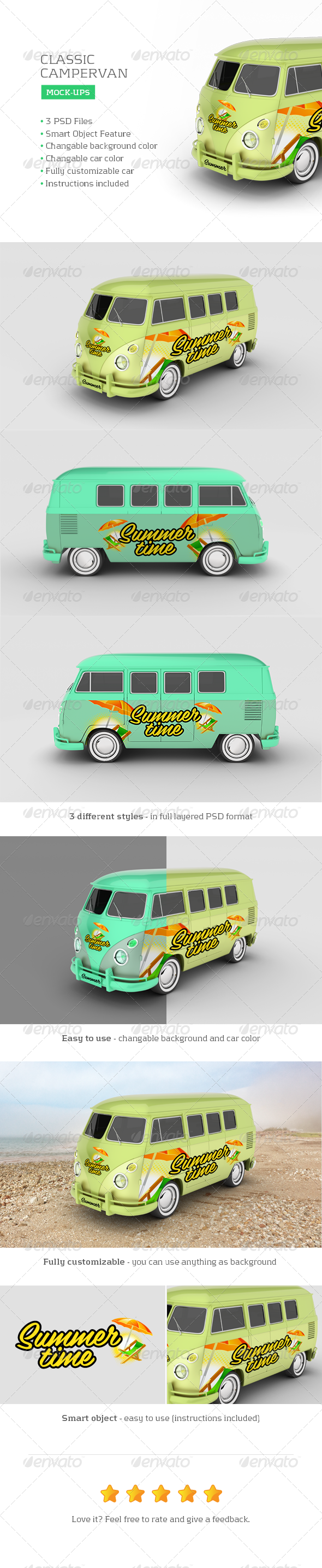 GraphicRiver Classic Campervan Car Mock-Up 7815231