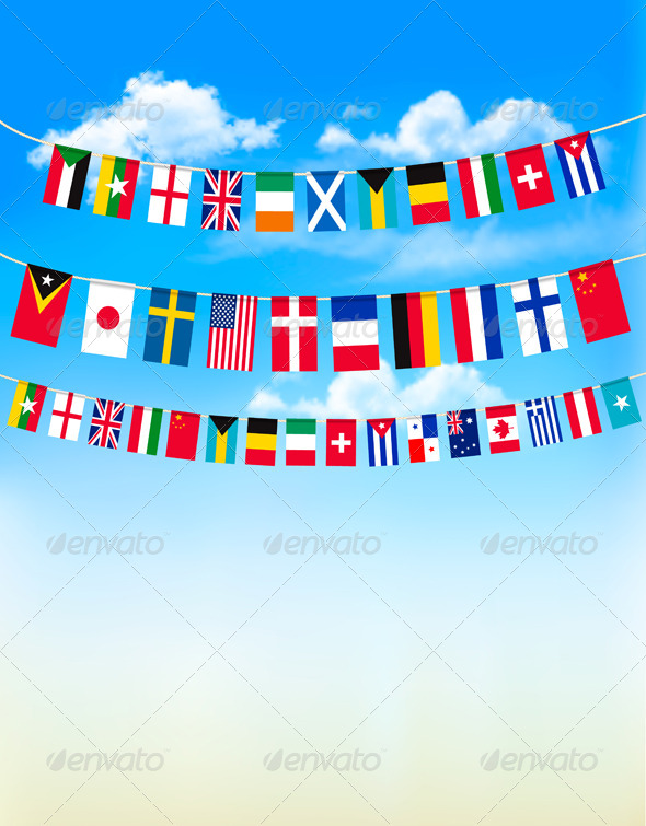 GraphicRiver World Bunting Flags on Blue Sky 7815524