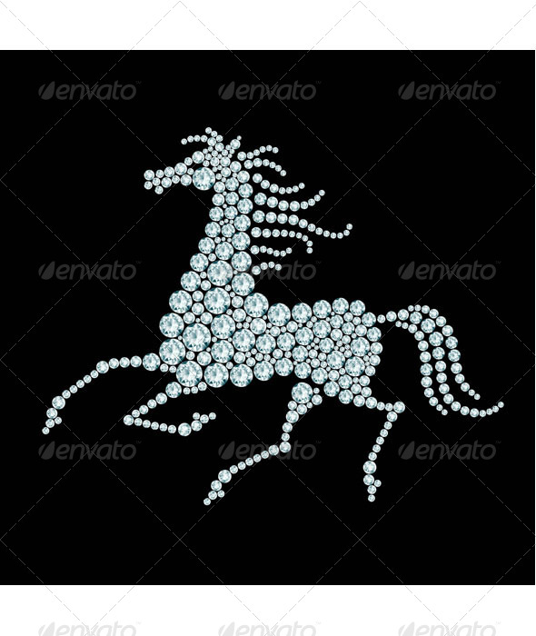 GraphicRiver Running Horse Diamond Composition 7817418