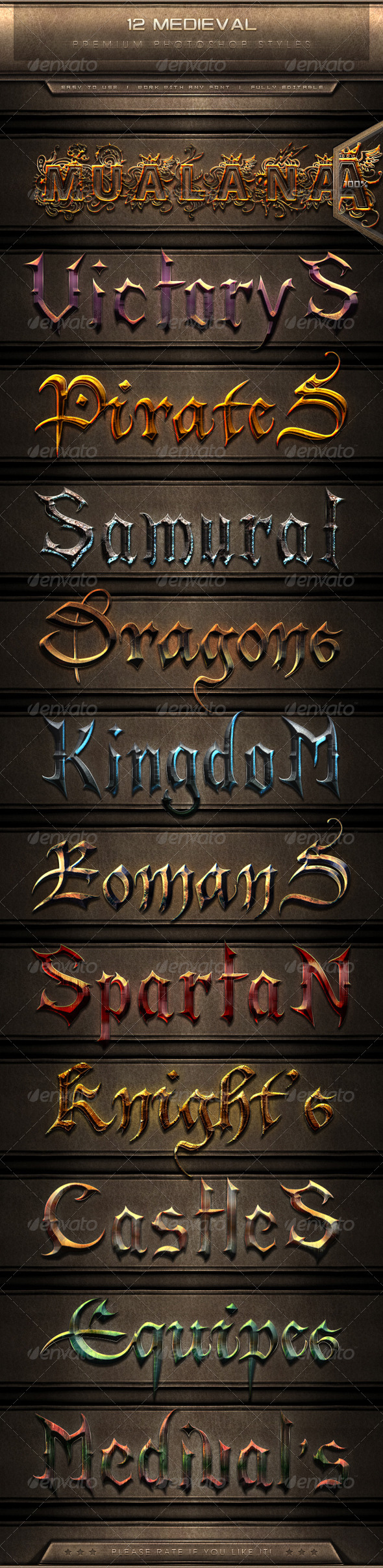 GraphicRiver 12 Medieval Text Effect Styles 7819855