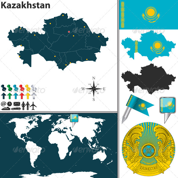 GraphicRiver Map of Kazakhstan 7821302