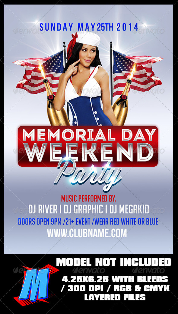 GraphicRiver Memorial Day Party Flyer Template 7822375