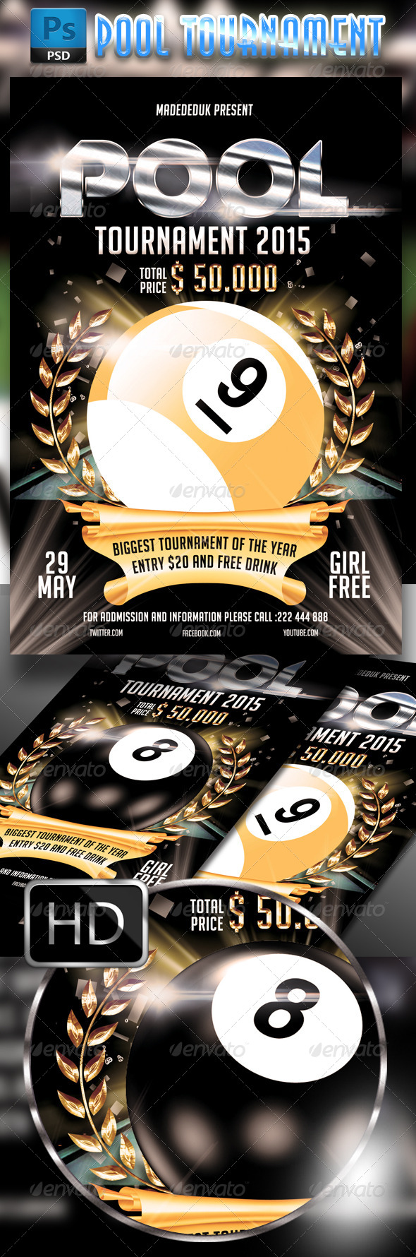 GraphicRiver Pool Tournament 2015 Flyer Template 7823054