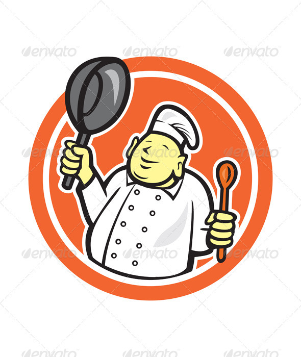 GraphicRiver Fat Buddha Chef Cook Holding Pan Circle Cartoon 7823345