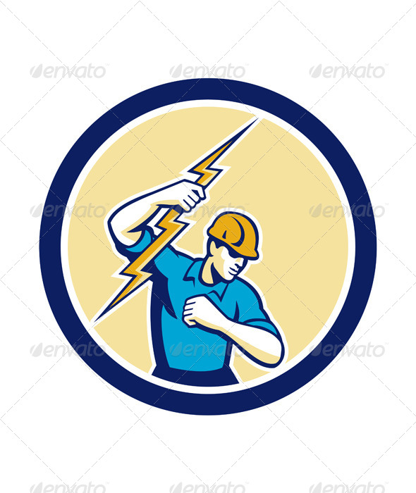 GraphicRiver Electrician Holding Lightning Bolt Circle 7823378