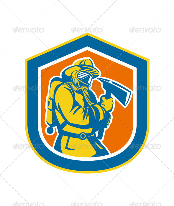 GraphicRiver Firefighter Holding Fire Axe in Shield 7823392