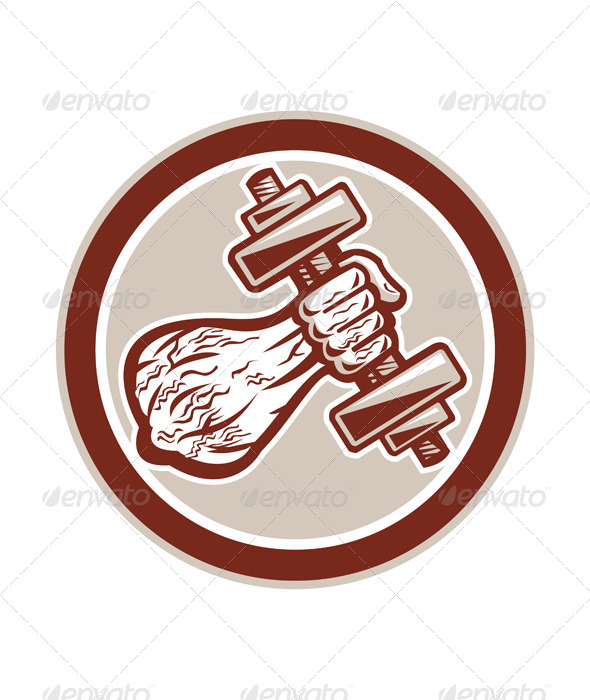 GraphicRiver Hand Lifting Dumbbell in Circle 7823396