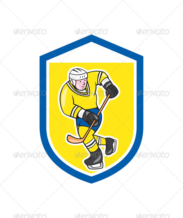GraphicRiver Ice Hockey Player in Shield 7823399