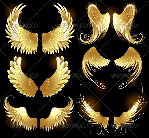 GraphicRiver Golden Wings of Angels 7738418