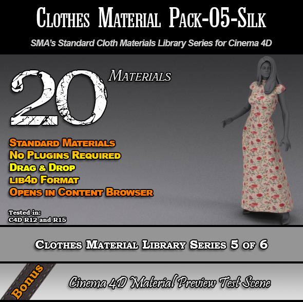 3DOcean Standard Clothes Material Pack-05-Silk for C4D 7824391