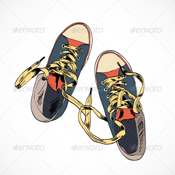 GraphicRiver Colored Gumshoes Sketch 7824464