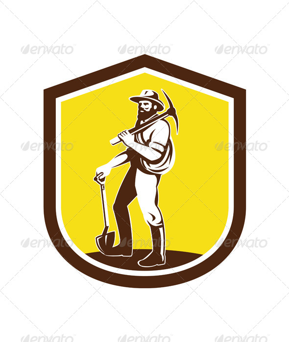 GraphicRiver Coal Miner with Pick Axe on Shield 7824879