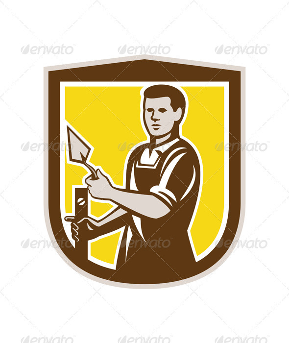 GraphicRiver Masonry Worker with Trowel on Shield 7824926